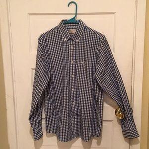 Blue/black/white patterned Button up dress shirt.